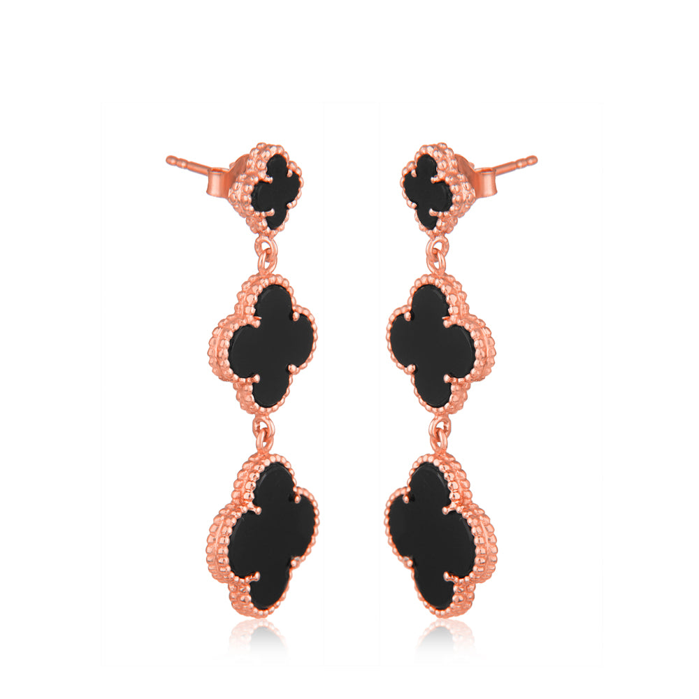 Black Onyx Quatrefoil Danglers, Faith:Hope:Love:Luck, (Pure Silver Rose Gold)