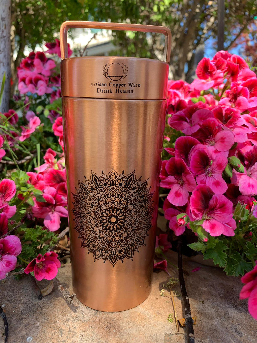 Copper Water Bottle Mandala etched Antique finish 27 Fluid Oz
