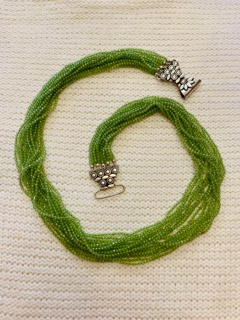 'Swasti' Layers of Peridot & Sterling Silver Brooch Clasp