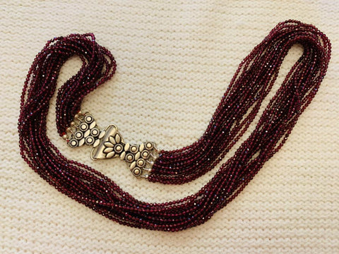'Swasti' Layers of Garnet & Sterling Silver Brooch Clasp