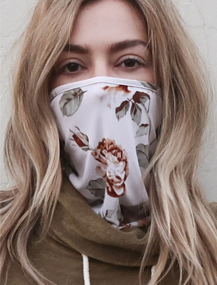 Cream Floral Mask
