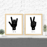 Printable 2 Set - Love and Peace Hands - Vision City Design Studio