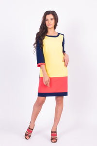 Color Blocked 3/4 Length Sleeve Dress #2103