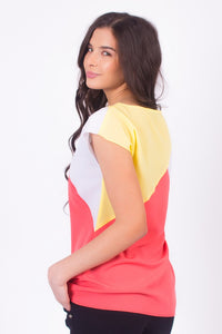 Color Blocked Short Sleeve Top #2107