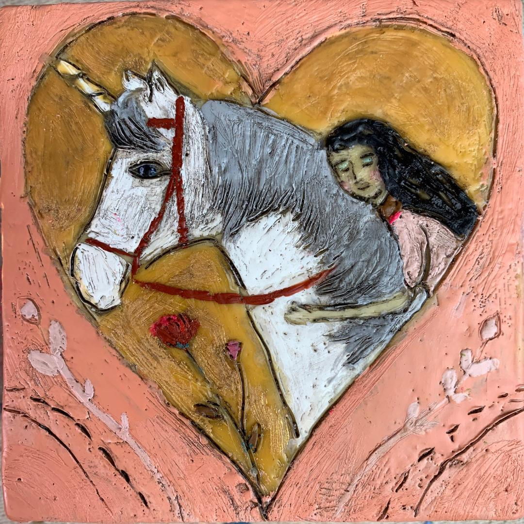 Unicorn Love - Original Encaustic Painting
