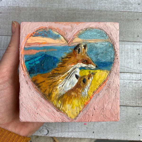 Two Foxes - Original Encaustic Painting