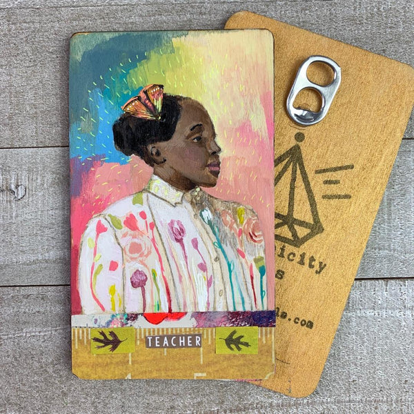 Teacher - Hand Painted Wooden Oracle Card