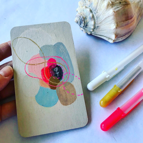 Held- Hand Painted Wooden Oracle Card