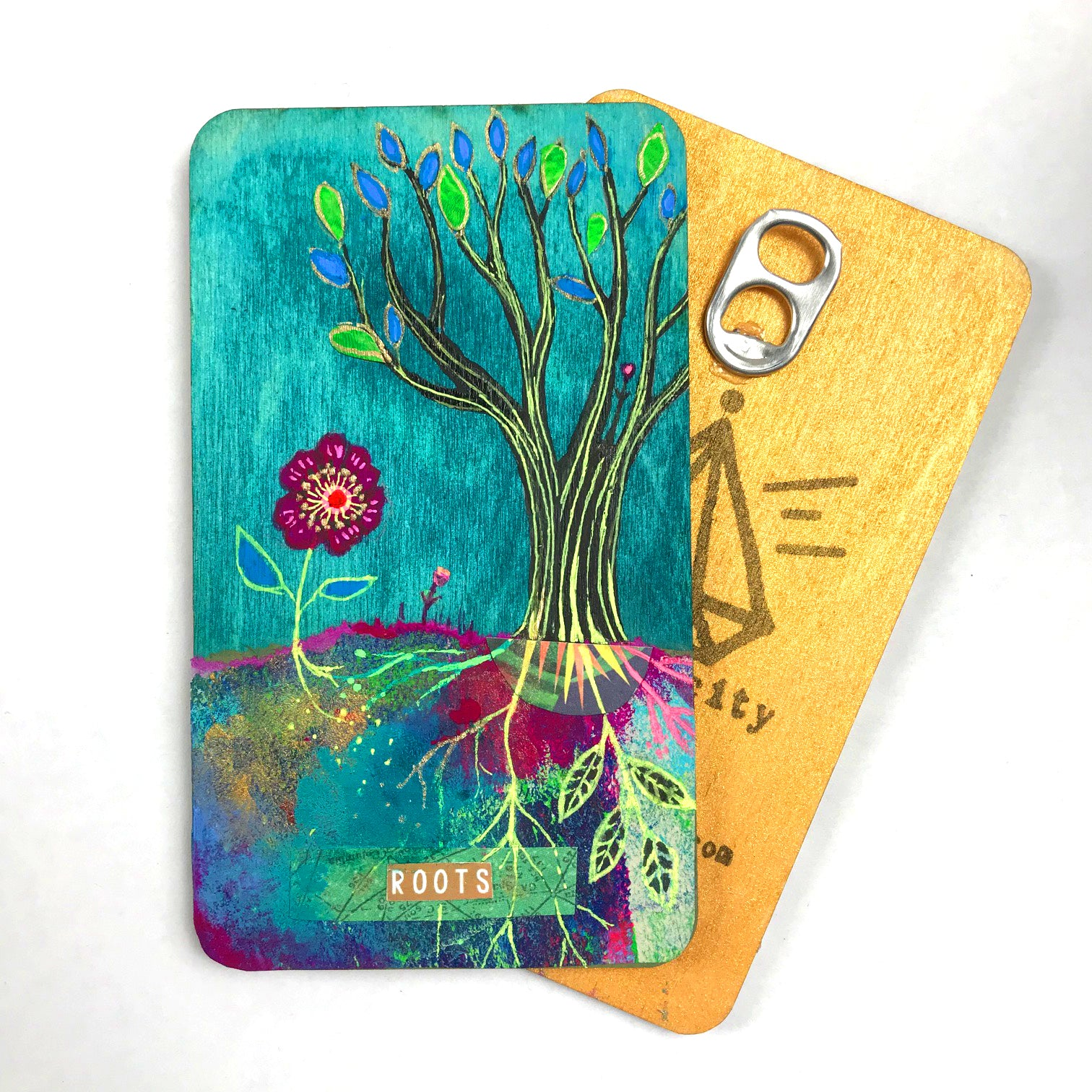 Roots - Hand Painted Wooden Oracle Card