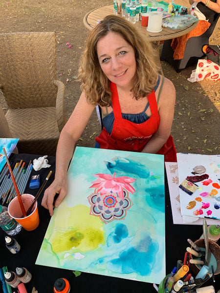 Cathy Nichols from Asheville, NC painting at workshop