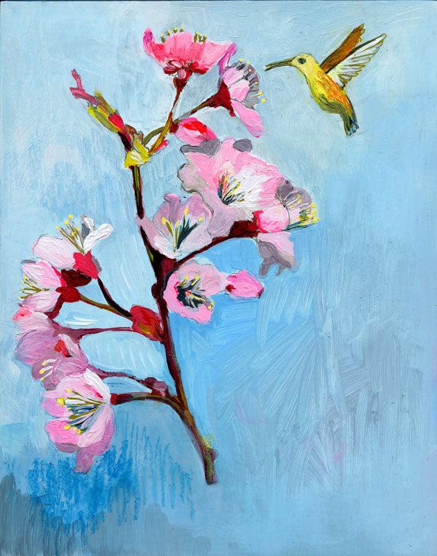 Carpe Diem -- Original Cherry Blossom & Hummingbird Painting