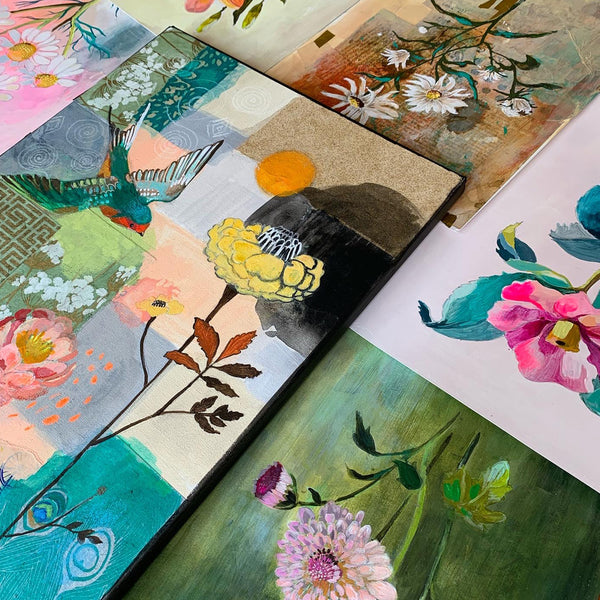 MIXED MEDIA! Painting Modern Expressive Flowers INSTANT ACCESS