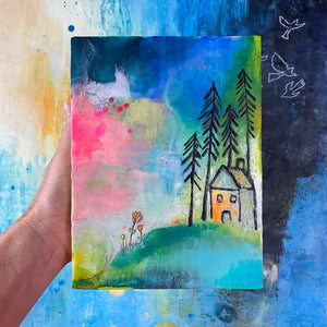 House in the Clouds - Original Encaustic Painting