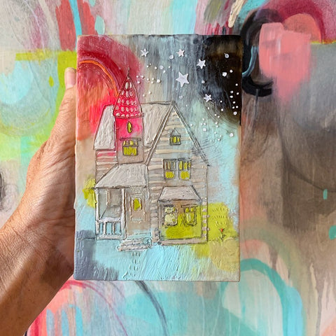 """House of Unapologetic Joy"" - Original Encaustic Painting"