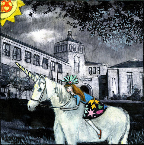 No One Knows She Rides a Unicorn to School - hand-embellished print on wood