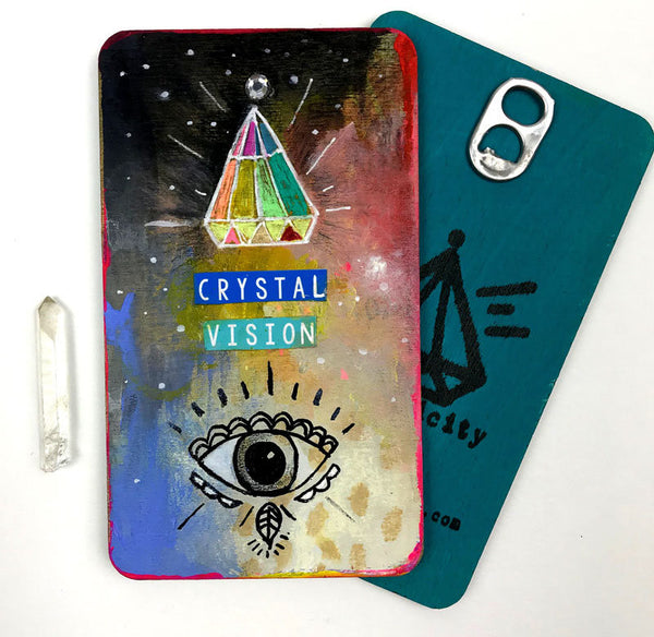 Crystal Vision - Hand Painted Wooden Oracle Card