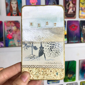 Rest - Hand Painted Wooden Oracle Card