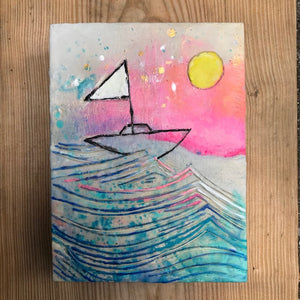 Sail to the Moon Original Encaustic Painting