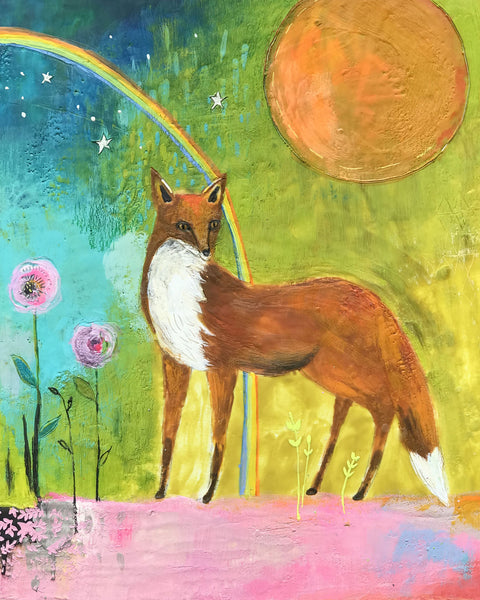 Little Fox- Original Encaustic Painting
