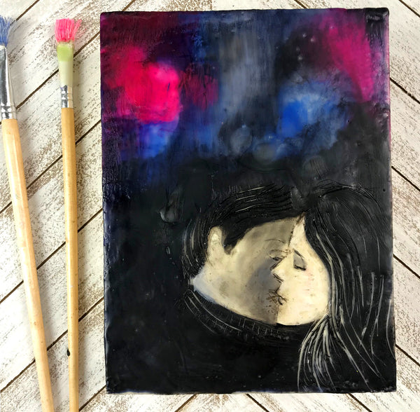 Midnight Kiss - Original Encaustic Painting