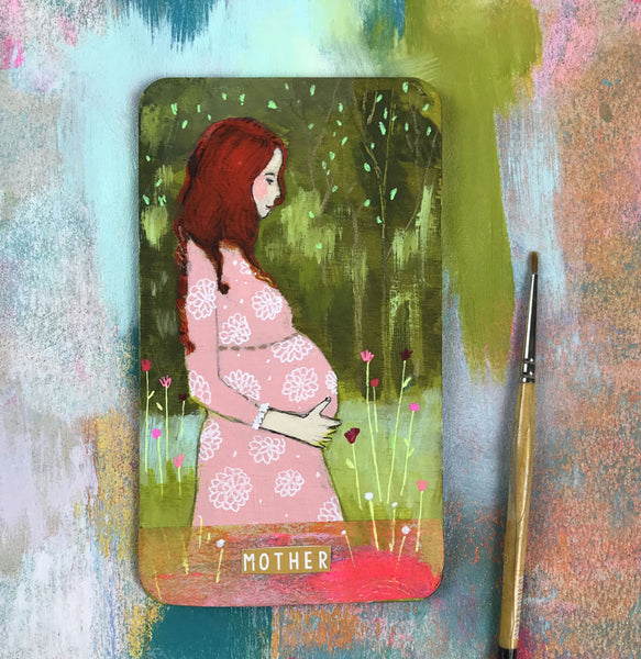 Mother - Hand Painted Wooden Oracle Card