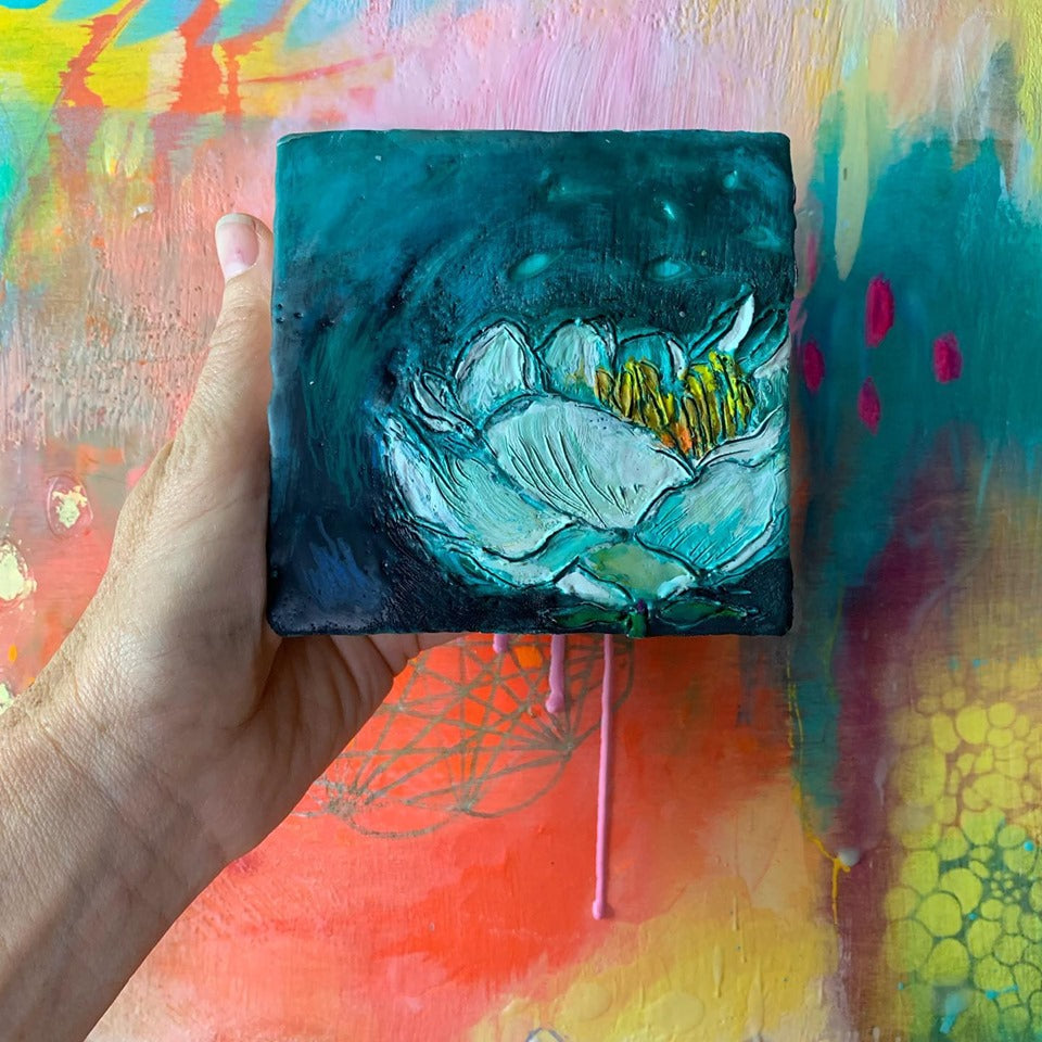 """Night Bloom""- Original Encaustic Painting"