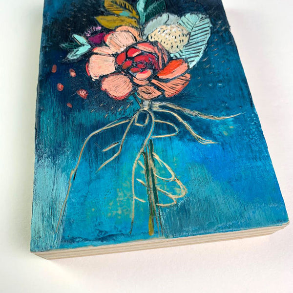 """PeachMint Bouquet"" - Original Encaustic Painting"
