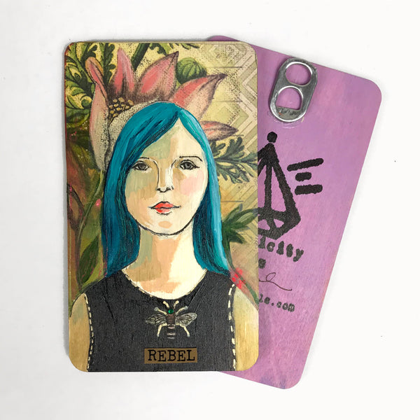 Rebel - Hand Painted Wooden Oracle Card