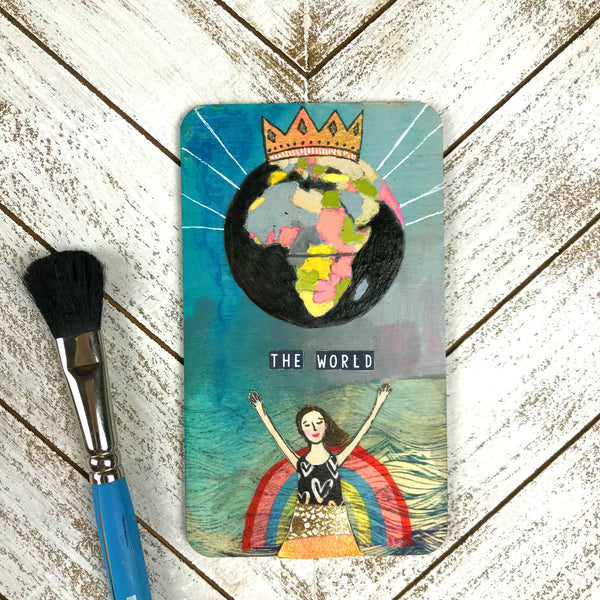 The World - Hand Painted Wooden Oracle Card