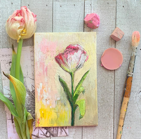 Tulip - encaustic painting
