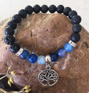 Blue Jade Diffuser Bracelet with Tree of Life Charm - Wellness Oils & Beads