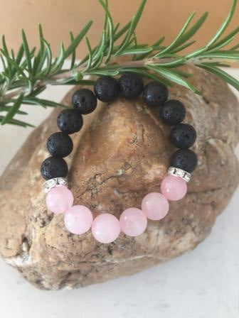 child's rose quartz and lava stone diffuser bracelet