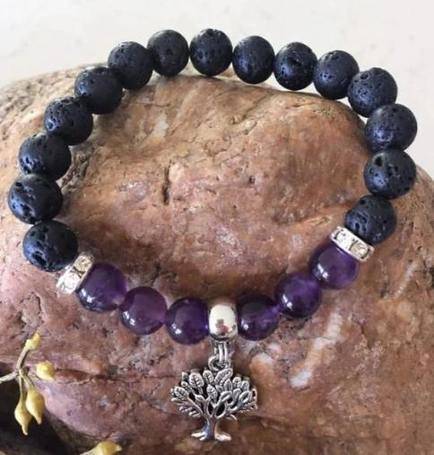 Amethyst Diffuser Bracelet with Tree of Life Charm - Wellness Oils & Beads
