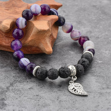 Load image into Gallery viewer, Agate and Lava Stone Bracelet Purple - Wellness Oils & Beads
