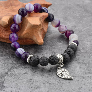 Agate and Lava Stone Bracelet Purple - Wellness Oils & Beads
