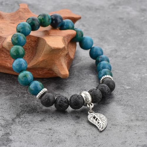 Agate and Lava Stone Bracelet Jade - Wellness Oils & Beads