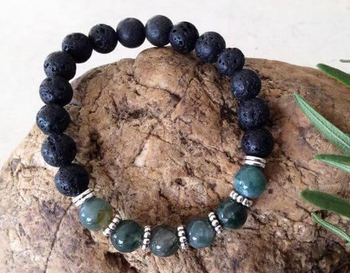 Green Moss Agate & Lava Stone Bracelet - Wellness Oils & Beads