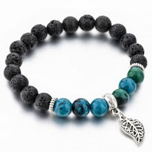 Load image into Gallery viewer, Agate and Lava stone bracelet Jade