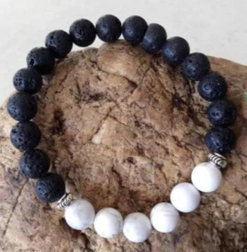 White Howlite & Lava Stone Bracelet - Wellness Oils & Beads