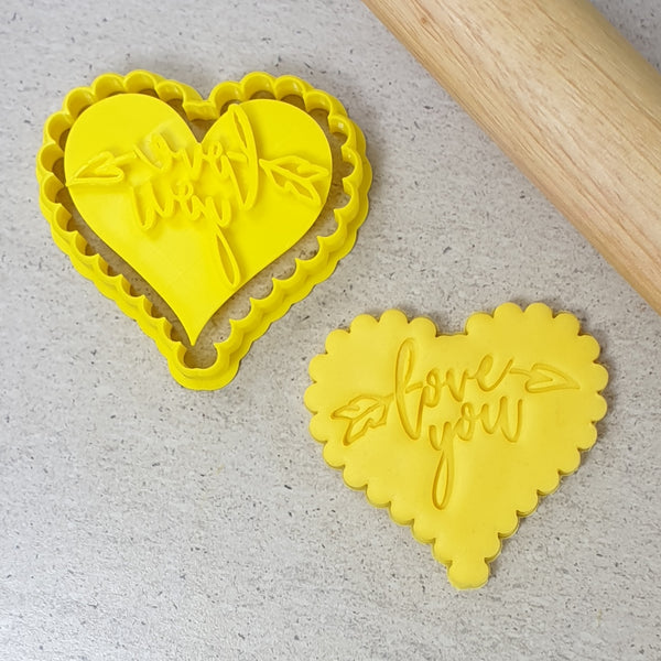 Love You Embosser with Scalloped Heart Cutter Set