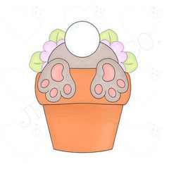 Floral Bunny Terracotta Pot