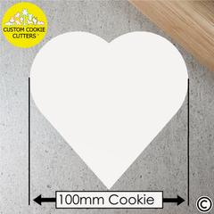 Very Large 100mm Custom Heart Cookie Embosser