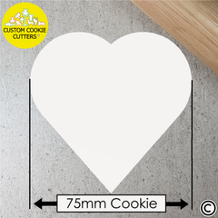 Standard 75mm Custom Heart Cookie Embosser