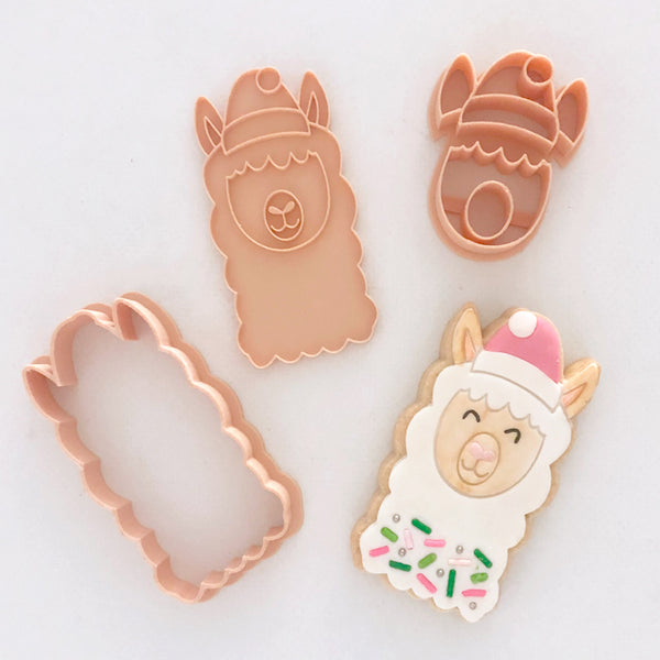 Little Biskut Christmas Llama Stamp and Cutter Set
