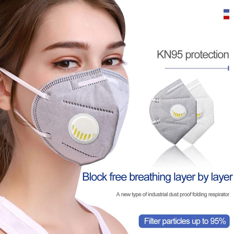 Reusable KN95 Mask - Valved Face Mask N95 Protection Face Mask FFP1 FFP2 FFP3 Mouth Cover Pm2.5 Dust Masks 6 Layers Filter