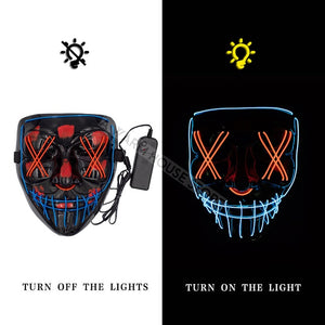 Halloween Party & Rave Neon Light Glow Led Mask - DidntKnowINeedThat