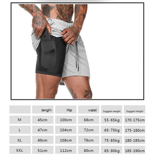 Men's 2 in 1 Security Pocket Fitness Shorts