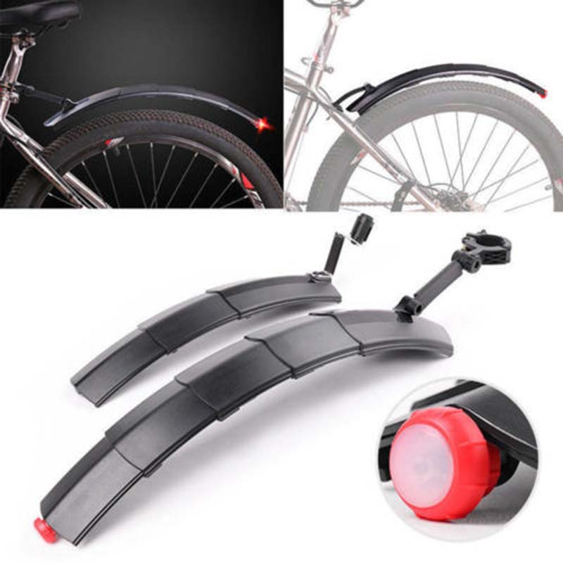 Bicycle Telescopic Folding Mudguard With Taillight