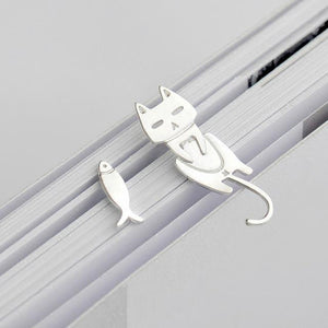 Cat And Fish Silver Stud Earrings - DidntKnowINeedThat
