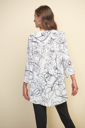 NAVY FLORAL ON WHITE SPRING TOP